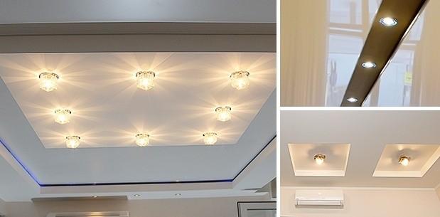 Черный глянцевый натяжной потолок с встроенной люстрой в ванной | 305x619